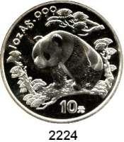 AUSLÄNDISCHE MÜNZEN,China Volksrepublik seit 194910 Yuan 1997 (Silberunze).  Schmale Jahreszahl mit Serifen.  Panda nach links im Wald.  Schön 1001.  KM 986.  In Kapsel.