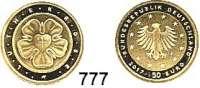 B U N D E S R E P U B L I K, 50 EURO 2017 J.  Reformationsjubiläum - Lutherrose.  GOLD  Im Originaletui.
