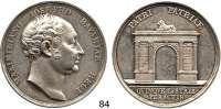 Deutsche Münzen und Medaillen,Bayern Maximilian I. Josef (1799) 1806 - 1825Silbermedaille 1824 (Losch) zum 25jährigen Regierungsjubiläum. Kopf rechts. / Triumphbogen. 48 mm. 43,78 g. Witt. 2519.
