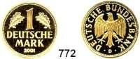 B U N D E S R E P U B L I K, 1 Deutsche Mark 2001 A, D, F, G, J.  GOLD  (je 12g FEIN).  Goldene Abschiedsprägung der Deutschen Bundesbank zum Ende der DM.  SATZ 5 Stück.