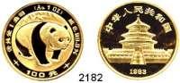 AUSLÄNDISCHE MÜNZEN,China Volksrepublik seit 1949100 Yuan 1983.  (1 UNZE  31,1g FEIN).  Schön 62.  KM 72.  Fb. B 4.  Panda  Verschweißt.  GOLD