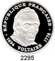 AUSLÄNDISCHE MÜNZEN,Frankreich 5. Republik seit 1958100 Francs 1994.  Voltaire.  Schön 338.  KM 1182.  Im Originaletui mit Zertifikat.