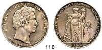 Deutsche Münzen und Medaillen,Bayern Ludwig I. 1825 - 1848Geschichtstaler 1833.  Zollverein mit Preußen, Sachsen, Hessen und Thüringen.  Kahnt 89.  AKS 128.  Jg. 43.  Thun 61.  Dav. 569.