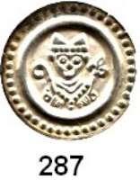 Deutsche Münzen und Medaillen,Konstanz, Bischöfliche Münzstätte Eberhard II. von Waldburg - Thann 1248 - 1274Brakteat.  0,39 g.  Büste mit Krummstab und Lilienzepter.  Slg. Bonhoff 1811.