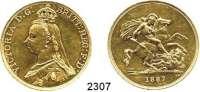 AUSLÄNDISCHE MÜNZEN,G R O S S B R I T A N N I E N Viktoria 1837 - 19015 Pounds 1887  (36,6g FEIN).  Spink 3864.  KM 766.  Fb. 393.  GOLD