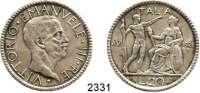 AUSLÄNDISCHE MÜNZEN,Italien Viktor Emanuel III. 1900 - 194620 Lire 1928/VI, Rom.  Schön 67.  KM 69.