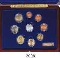 AUSLÄNDISCHE MÜNZEN,E U R O  -  P R Ä G U N G E N FinnlandKurssatz 2003.  (8 Werte und Silbermedaille mit Diamant).  KM MS 15.  Im Originaletui mit Zertifikat.