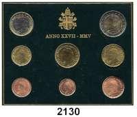 AUSLÄNDISCHE MÜNZEN,E U R O  -  P R Ä G U N G E N VatikanKurssatz 2005 (8 Werte).  Cent bis 2 EURO.