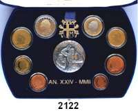 AUSLÄNDISCHE MÜNZEN,E U R O  -  P R Ä G U N G E N VatikanKurssatz 2002.  Cent bis 2 Euro.  Im Originaletui mit Zertifikat.