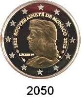 AUSLÄNDISCHE MÜNZEN,E U R O  -  P R Ä G U N G E N Monaco2 EURO 2012.  500. Jahrestag der Unabhängigkeit Monacos.  Im Originaletui mit Zertifikat.