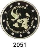 AUSLÄNDISCHE MÜNZEN,E U R O  -  P R Ä G U N G E N Monaco2 EURO 2013.  20 Jahre UN-Mitgliedschaft.  KM 200.  Im Originaletui mit Zertifikat.