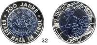 Österreich - Ungarn,Österreich 2. Republik ab 194525 EURO 2003 (Bi-Metall Silber/Niob).  700 Jahre Stadt Hall.  Schön 296.  KM 3101.  Im Originaletui mit Zertifikat.