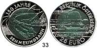 Österreich - Ungarn,Österreich 2. Republik ab 194525 EURO 2004 (Bi-Metall Silber/Niob).  Semmeringbahn.  Schön 305.  KM 3109.  Im Originaletui mit Zertifikat.