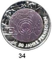 Österreich - Ungarn,Österreich 2. Republik ab 194525 EURO 2005 (Bi-Metall Silber/Niob).  50 Jahre Fernsehen.  Schön 316.  KM 3119.  Im Originaletui mit Zertifikat.
