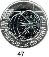 Österreich - Ungarn,Österreich 2. Republik ab 194525 EURO 2013 (Bi-Metall Silber/Niob).  Tunnelbau.   Schön 402.  KM 3217.  Im Originaletui mit Zertifikat.