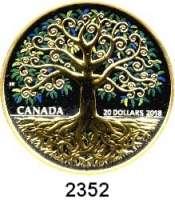 AUSLÄNDISCHE MÜNZEN,Kanada 20 Dollars 2018.  Baum des Lebens.  Motiv Teilvergoldet.  Im Originaletui mit Zertifikat.