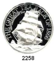 AUSLÄNDISCHE MÜNZEN,Cook Islands 10 Dollars 2016.  The Great Tea Race of 1866.  High Relief Prägung.  Im Originaletui mit Zertifikat.