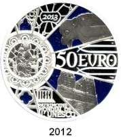 AUSLÄNDISCHE MÜNZEN,E U R O  -  P R Ä G U N G E N Frankreich50 Euro 2013.  (Silber, 5 Unzen).  850 Jahre Kathedrale Notre Dame in Paris.  Schön 1368.  KM 2098.  Im Originaletui mit Zertifikat.
