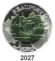 AUSLÄNDISCHE MÜNZEN,E U R O  -  P R Ä G U N G E N Luxemburg5 EURO 2013 (Bi-Metall, Silber/Niob).  Burg Beaufort.  Schön 117.  KM 126.