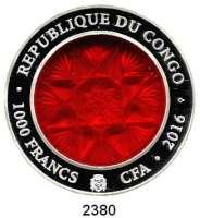 AUSLÄNDISCHE MÜNZEN,Kongo - Brazzaville 1000 Francs 2016.  (2 Unzen Silber, eingelegt böhmisches Glas).  Im Originaletui mit Zertifikat.