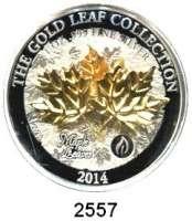 AUSLÄNDISCHE MÜNZEN,Samoa 10 Dollars 2014.  Gold Leaf Collection