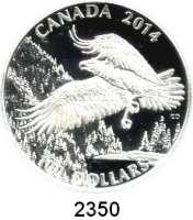 AUSLÄNDISCHE MÜNZEN,Kanada 100 Dollars 2014.  Weißkopfseeadler vor Bergkette.  Im Originaletui mit Zertifikat.