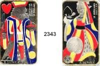 AUSLÄNDISCHE MÜNZEN,Kanada 15 Dollars 2008(2) und 2009(2).  Barrenförmig mit farbigen Spielkartenmotiven.  Schön 777, 778, 838, 839.  KM 806, 807, 919, 920.  Jeweils im Originaletui mit Zertifikat.  LOT 4 Stück.