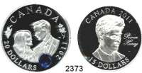 AUSLÄNDISCHE MÜNZEN,Kanada LOTS     LOTS     LOTS15 Dollars 2011(3); 20  Dollars 2011.  Britische Monarchen.  Schön 1027, 1028, 1029, 1033.  KM 1091, 1092, 1093, 1111.  Jeweils im Originaletui mit Zertifikat.  LOT 4 Stück.