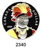 AUSLÄNDISCHE MÜNZEN,Kanada Dollar 2007 (Farbmünze).  Häuptling Thayendanegea der Mohawk.  Schön  711.  KM 720.  Im Originaletui mit Zertifikat.