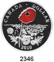 AUSLÄNDISCHE MÜNZEN,Kanada Dollar 2010.  Große rote Mohnblüte.  KM 1050.  Im Originaletui mit Zertifikat.