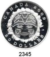 AUSLÄNDISCHE MÜNZEN,Kanada 20 Dollars 2009.  Sommermondmaske der Indianer Salish aus Zedernholz.  Schön 841.  KM 876.  Im Originaletui mit Zertifikat.