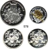 M E D A I L L E N,Tiere / Tiermotive LOT von 7 Medaillen des WWF mit Bärenmotiven.  Darunter 4 Silbermedaillen (zus. 50 g.) und 3 K/N-Medaillen in Numisbriefen.