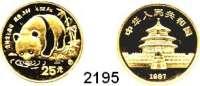 AUSLÄNDISCHE MÜNZEN,China Volksrepublik seit 194925 Yuan 1987