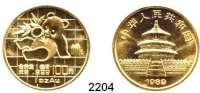 AUSLÄNDISCHE MÜNZEN,China Volksrepublik seit 1949100 Yuan 1989.  (1 UNZE 31,1 g fein).  Panda mit Bambuszweig.  Schön 223.  KM 229.  Fb. B 4.  Verschweißt.  GOLD