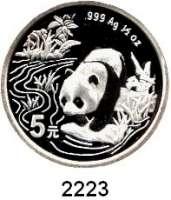 AUSLÄNDISCHE MÜNZEN,China Volksrepublik seit 19495 Yuan 1997.  (1/2 Silberunze).  Panda in überfluteter Landschaft  Schön 1000.  KM 993.  In Kapsel.