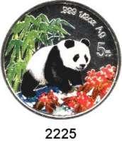 AUSLÄNDISCHE MÜNZEN,China Volksrepublik seit 19495 Yuan 1997 (1/2 Silberunze, Farbmünze).  Panda nach rechts im Wald.  Schön 1002.  KM 995.  In Kapsel.