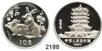 AUSLÄNDISCHE MÜNZEN,China Volksrepublik seit 194910 Yuan 1987.  Jahr des Feuers mit dem Hasen.  Schön 130.  KM 169.  In Kapsel.  Im Originaletui mit Zertifikat.