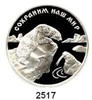 AUSLÄNDISCHE MÜNZEN,Russland Russische Föderation seit 19913 Rubel 1997.  Eisbär und Walroß.  Parch. 1056.  Schön 555.  Y. 593.
