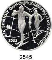 AUSLÄNDISCHE MÜNZEN,Russland Russische Föderation seit 19913 Rubel 2002.  Olympische Winterspiele 2002 in Salt Lake City.  Parch. 1097.  Schön 737.  Y. 738.