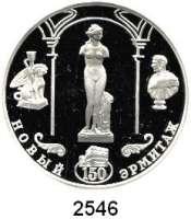 AUSLÄNDISCHE MÜNZEN,Russland Russische Föderation seit 19913 Rubel 2002.  150 Jahre Neue Eremitage - Venus von Tauris.  Parch. 1098.  Schön 739.  Y. 756.