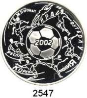AUSLÄNDISCHE MÜNZEN,Russland Russische Föderation seit 19913 Rubel 2002.  XVII. Fußball WM.  Parch. 1099.  Schön 743.  Y. 787.