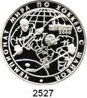 AUSLÄNDISCHE MÜNZEN,Russland Russische Föderation seit 19913 Rubel 2000.  64, Eishockey - Weltmeisterschaft.  Parch. 1077.  Schön 648.  Y. 661.
