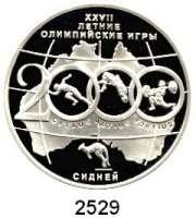 AUSLÄNDISCHE MÜNZEN,Russland Russische Föderation seit 19913 Rubel 2000.  Olympische Sommerspiele in Sydney.  Parch. 1079.  Schön 650.  Y. 671.