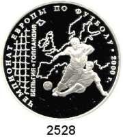 AUSLÄNDISCHE MÜNZEN,Russland Russische Föderation seit 19913 Rubel 2000.  XI. Fußball - Europameisterschaft 2000.  Parch. 1078.  Schön 649.   Y. 673.