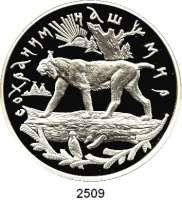 AUSLÄNDISCHE MÜNZEN,Russland Russische Föderation seit 199125 Rubel 1995 (5 Unzen Silber).  Luchs.  Parch. 1420.  Schön 448.  Y. 471.