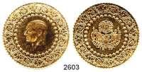 AUSLÄNDISCHE MÜNZEN,Türkei Republik seit 1923250 Piaster 1972  (16,54g FEIN).  Schön 387.  KM 873.  Fb.95.  GOLD.