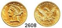 AUSLÄNDISCHE MÜNZEN,U S A 5 Dollars 1861, Philadelphia.  (7,5g fein).  Schön 46.  KM 69.  Fb. 138.  GOLD.