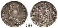 AUSLÄNDISCHE MÜNZEN,Mexiko Ferdinand VII. 1808 - 18238 Reales 1821 GA/FS, Guadalajara.  Cayón 16038.  KM 111.3.