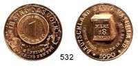 M E D A I L L E N,Medailleur Helmut König (Zella-Mehlis) Bronzemedaille 1990 (H. König).  Währungsunion und freie Wahlen zur Wiedervereinigung.  Vorderseite eines 1 Pfennigstückes der Bundesrepublik Deutschland