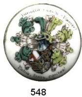 M E D A I L L E N,Studentica Porzellanplakette in Metallfassung (Knopf).